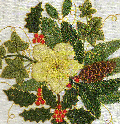 'Winter Evergreens' a Traditional Crewel Embroidery kit from Needlewoman Studio