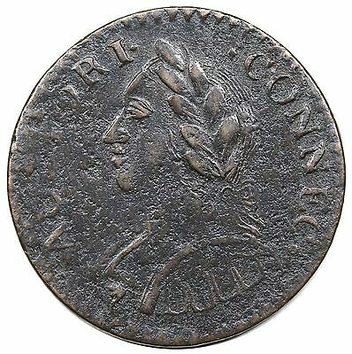 1787 Connecticut Copper, Laughing Head, scarce Miller 6.2-M, R.5, VF+ detail