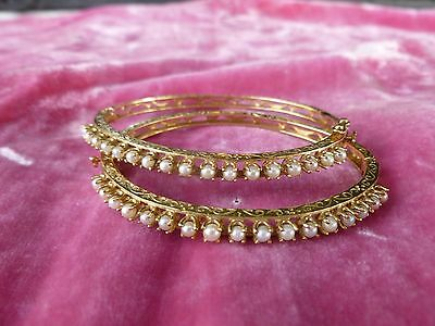 Stunning Matched Pair Of Victorian Edwardian 14K Gold And Pearl Bracelets