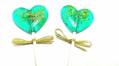 12 HEART LOLLIPOPS with EDIBLE GLITTER and GOLD RIBBON- Available in Any Color