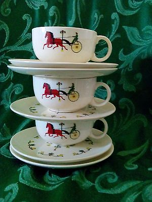 Vintage Crooksville Pottery TROTTER HORSE & BUGGY Cups and Saucers