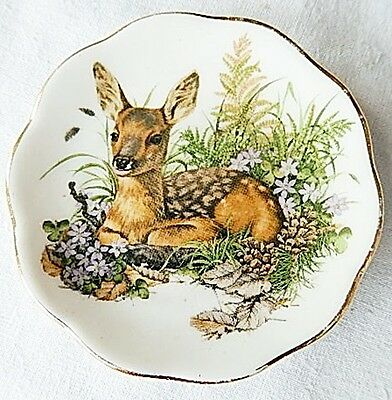 "Fenton English Bone China 3"" Deer Fawn Dish Plate Coasters Cup Cake Holder"
