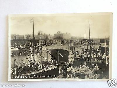 Buenos Aires Argentina Vista del Puerto View of Port 1931 RP Steam Boats Dock