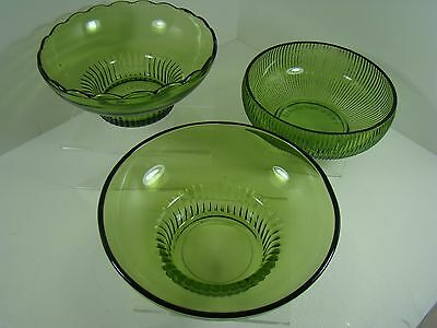 3 VTG 1960's EMERALD GREEN Glass Bowls, 2 Brody Cleveland, Ohio, 1 Unmarked NR!