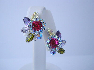 Sherman Multi-coloured Rhinestone Clip-on Earrings 1960s Era Excellent Condition