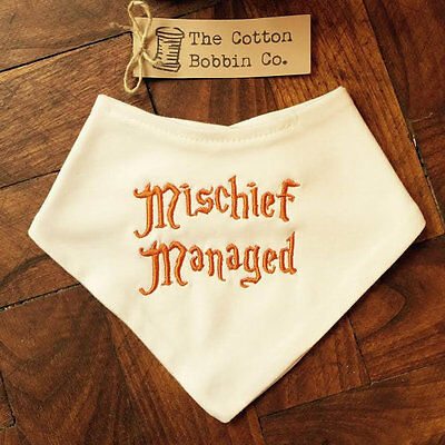 Harry Potter Marauders Map Baby Bib Embroidered Mischief Managed Super Soft