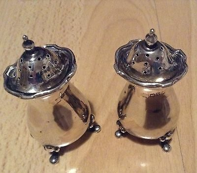 Pair antique solid silver pepper pots shakers Chester 1915