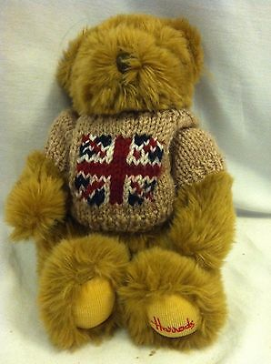 "Harrods Knightsbridge Teddy Bear Plush  Union Jack Flag Sweater 10"" TALL"