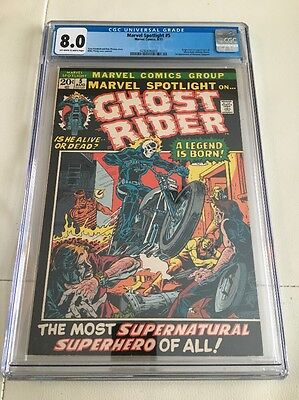Marvel Spotlight #5 CGC 8.0 Ow/w Pages Ghost Rider Origin 1st Appearance