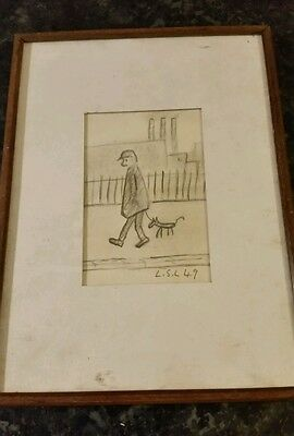 Small Framed Drawing Signed L S L  Lowry  1949