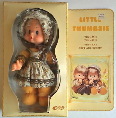 """Vintage 1976 Playmates 9"""" LITTLE THUMBSIE Girl Doll - Soft and Cuddly - New"""