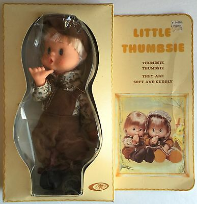 """Vintage 1976 Playmates 9"""" LITTLE THUMBSIE Boy Doll - Soft and Cuddly - New"""