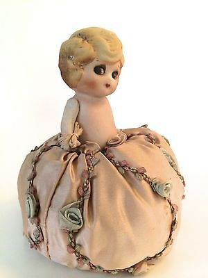 """Unique Antique Bisque Child Pin Cushion Doll Moveable Arms in Pink Rose """"Skirt"""""""
