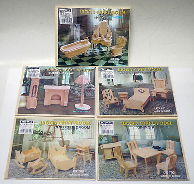 5 x Wood Craft Models Doll's House Furniture Kits - 1/12  Bed Bath Dining Room