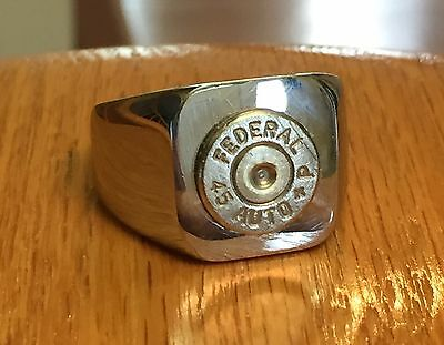 Federal 45 Caliber Nickel Bullet Casing Stainless Steel Ring Size 12.5