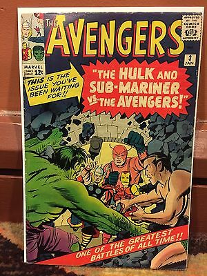 Rare 1963 Silver Age Avengers #3 Complete Nice Grade Hulk Submariner