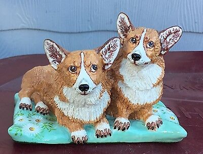 Vintage Basil Matthews Welsh Corgi Dogs on Pillow ~ signed w/ sticker ~ England