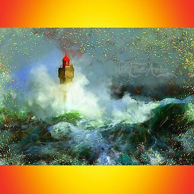 Nik Tod Original Painting Large Sign Art Nikfinearts Waves Storm On Lighthouse