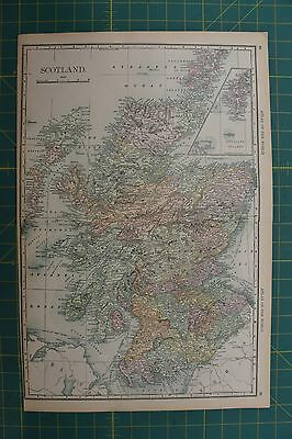 Scotland Vintage Original 1892 Rand McNally World Atlas Map Lot