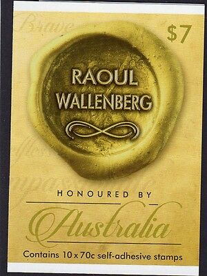 2015 STAMP BOOKLET HONOURED BY AUSTRALIA RAOUL WALLENBERG 10 x 70c STAMPS MUH
