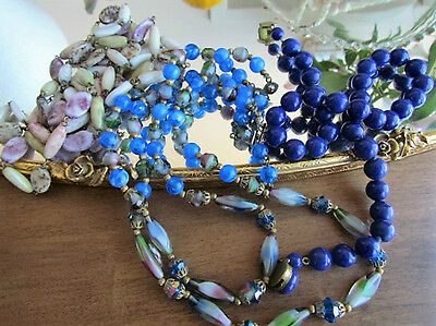 Murano Venetian multicolored Art Glass Vintage Necklace Royal Blue Lot Marbled