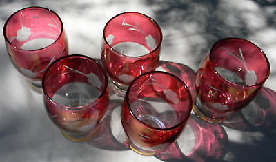 70's Vintage Cranberry Cut to Clear Glasses 5 Etched Bohemian Floral Crystal