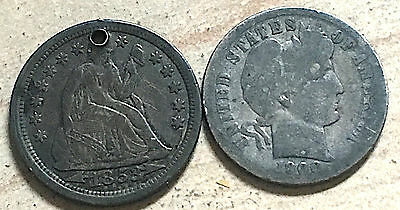 Two seated libery dimes and one Barber dime.
