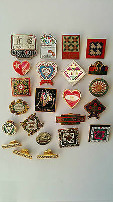 Mixed Lot of 23 Lapel Pin backs Enamel, Olympic, Quilting Festivals & Others