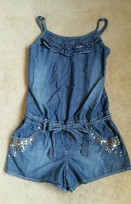 Justice Girls Size 18 Blue Chambray Sequin Romper with Ruffles and Belt