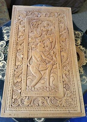 Vintage Large Beautifully Hand Carved Wooden Storage Case/ Jewelry Box/ Box