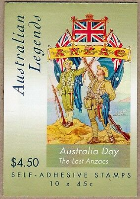 2000 STAMP BOOKLET AUSTRALIAN LEGENDS - THE LAST ANZACS - 10 x 45c STAMPS MUH
