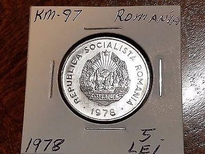 1978 Romania 5 Lei Brilliant Uncirculated #J61