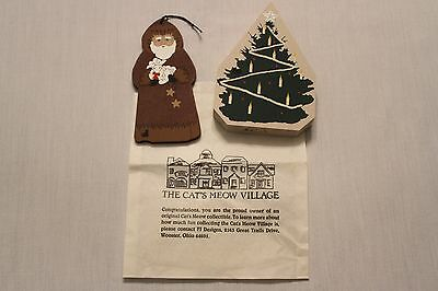 Cat's Meow Village Collectibles Christmas Ornament 1995 and Tree 1991 NEW