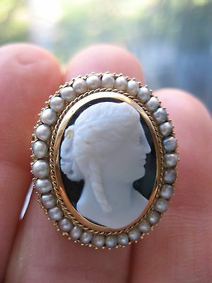 Antique Victorian Carved Hardstone Cameo 14k Yellow Gold Antique Pearl Surround
