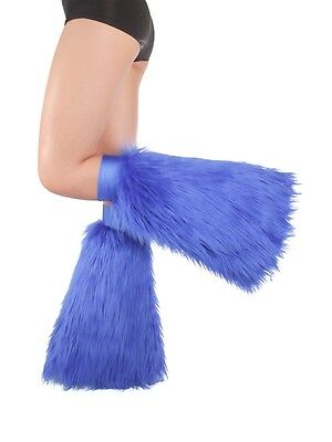 Blue Fluffies - Faux Fur Rave Festival Leg Warmers - Made in USA