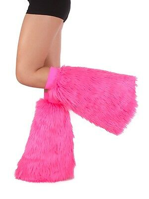 Pink Fluffies - Faux Fur Rave Festival Leg Warmers - Made in USA