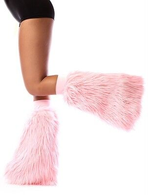 Baby Pink Fluffies - Faux Fur Rave Festival Leg Warmers - Made in USA