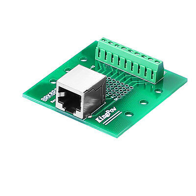 RJ45 / 8P8C to Screw Terminal Breakout Board with DIN rail clips