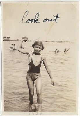 LOOK OUT: kid in shallow water, 1934