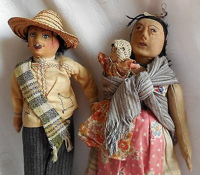 "Antique Hand Made Ethnic Mexican Cloth Dolls Man & Woman 13-14"" Rare Figures"