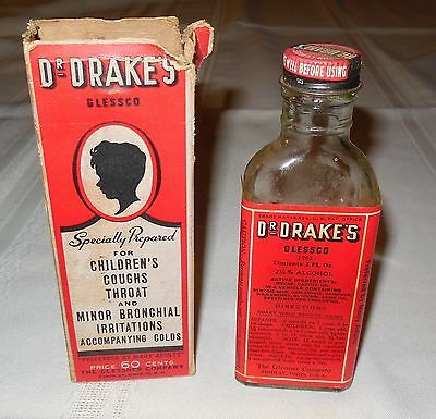 Antique Dr Drakes Glass Glessco Cough Syrup Bottle With Box