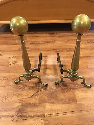 """Vintage Brass Fireplace Andirons ( 20"""" Tall ) Claw Foot"""