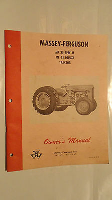 Massey Ferguson Tractor Manual Mf35 Special Mf35 Deluxe Owners Manual