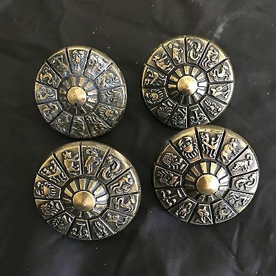 Four Vintage Brass Drawer Pulls With Astrological Zodiac Design