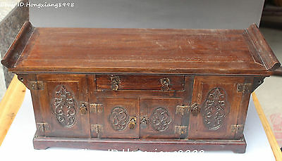 Old chinese Huanghuali wood carved lotus flower cabinet Jewelry boxes table desk