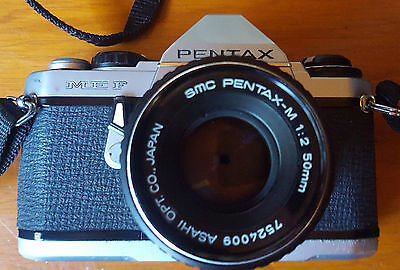 Vintage Pentax Slr Film Camera With Original Leather Case And Strap