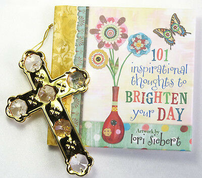 Gold Pated Crystal Cross & Book of 101 Inspirational Thoughts