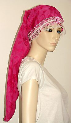 Hair Bonnet Hot Pink Floral Cotton or Night Sleep Cap - Adult Size for Long Hair