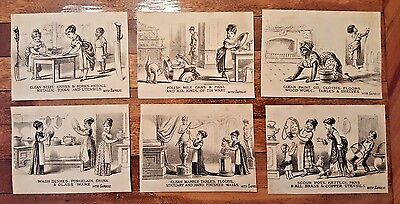1880s Victorian Trade Card Set-SAPOLIO Cleaner Polish Soap-Lot of 6