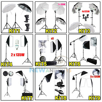 Photo Studio Umbrella Softbox Lighting Flash Light Stand Video Kit AU Continuous